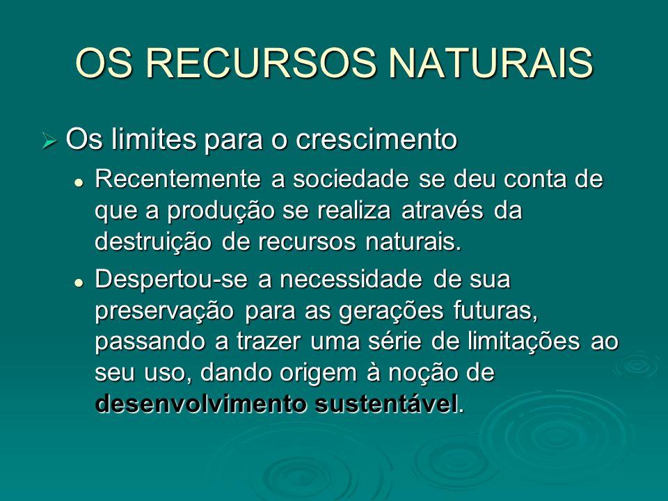 OS RECURSOS NATURAIS Os limites para o crescimento Os limites para o crescimento Recentemente a sociedade se deu conta de que a produção se realiza at