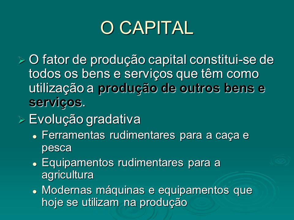O CAPITAL O fator de produção capital constitui-se de todos os bens e serviços que têm como utilização a produção de outros bens e serviços. O fator d