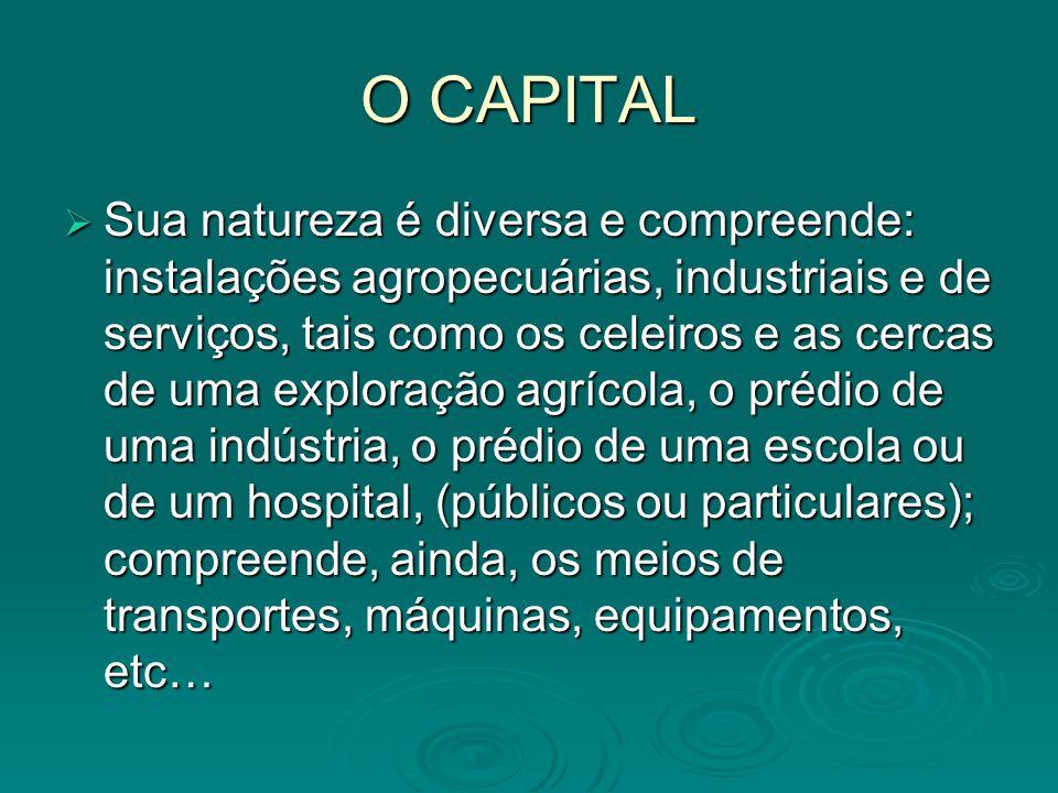O CAPITAL Sua natureza é diversa e compreende: instalações agropecuárias, industriais e de serviços, tais como os celeiros e as cercas de uma exploraç