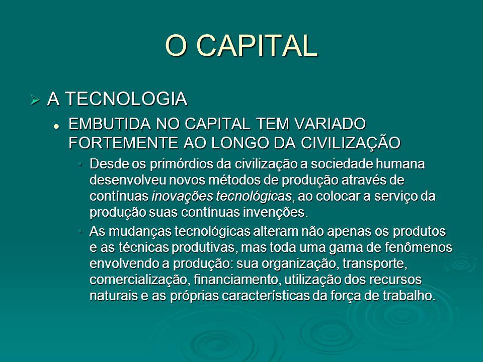 O CAPITAL A TECNOLOGIA A TECNOLOGIA EMBUTIDA NO CAPITAL TEM VARIADO FORTEMENTE AO LONGO DA CIVILIZAÇÃO EMBUTIDA NO CAPITAL TEM VARIADO FORTEMENTE AO L