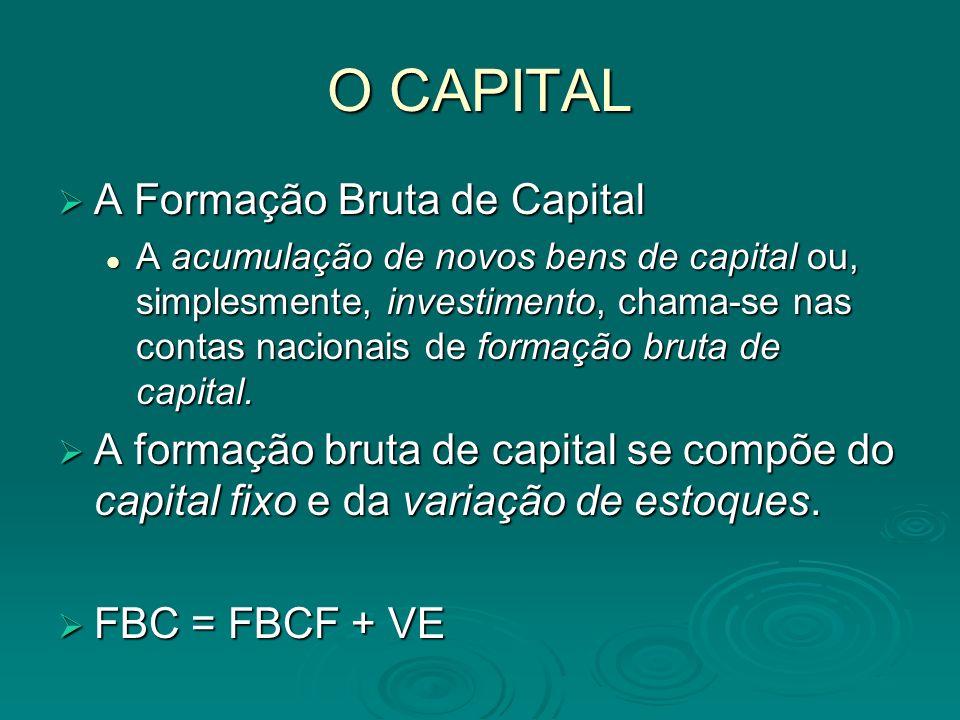 O CAPITAL A Formação Bruta de Capital A Formação Bruta de Capital A acumulação de novos bens de capital ou, simplesmente, investimento, chama-se nas c