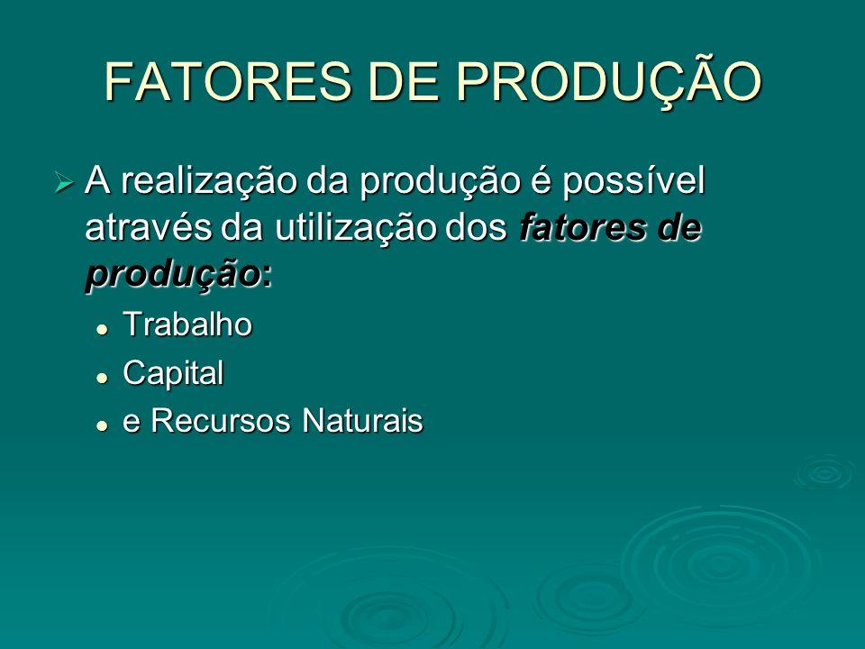 FATORES DE PRODUÇÃO A realização da produção é possível através da utilização dos fatores de produção: A realização da produção é possível através da