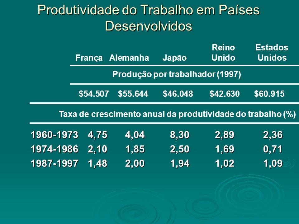 Produtividade do Trabalho em Países Desenvolvidos 1960-19734,754,048,302,892,36 1974-19862,101,852,501,690,71 1987-19971,482,001,941,021,09 ReinoEstad
