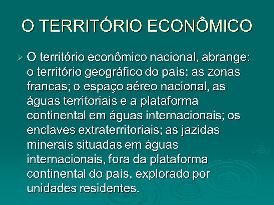 O TERRITÓRIO ECONÔMICO O território econômico nacional, abrange: o território geográfico do país; as zonas francas; o espaço aéreo nacional, as águas