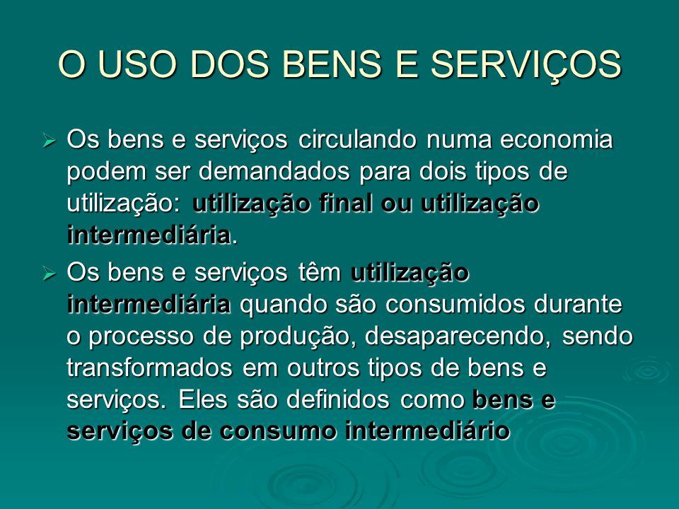O USO DOS BENS E SERVIÇOS Os bens e serviços circulando numa economia podem ser demandados para dois tipos de utilização: utilização final ou utilizaç