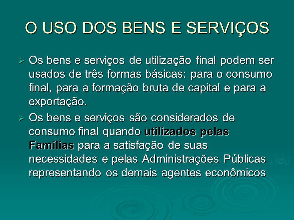 O USO DOS BENS E SERVIÇOS Os bens e serviços de utilização final podem ser usados de três formas básicas: para o consumo final, para a formação bruta