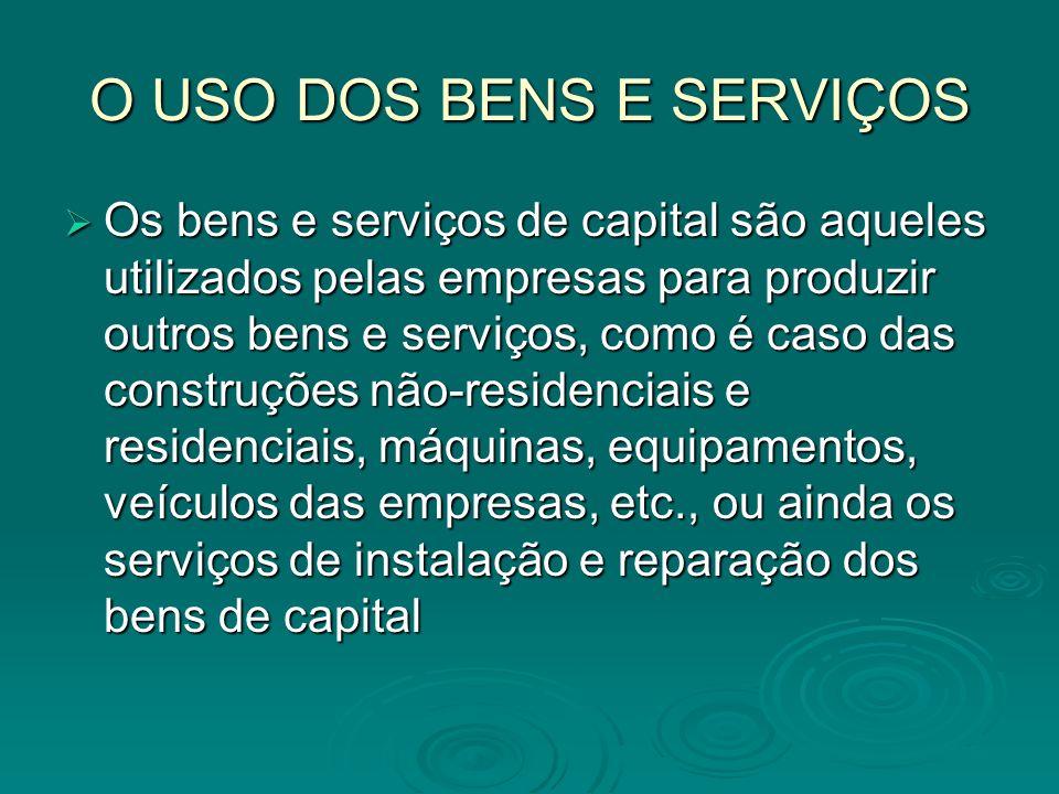 O USO DOS BENS E SERVIÇOS Os bens e serviços de capital são aqueles utilizados pelas empresas para produzir outros bens e serviços, como é caso das co