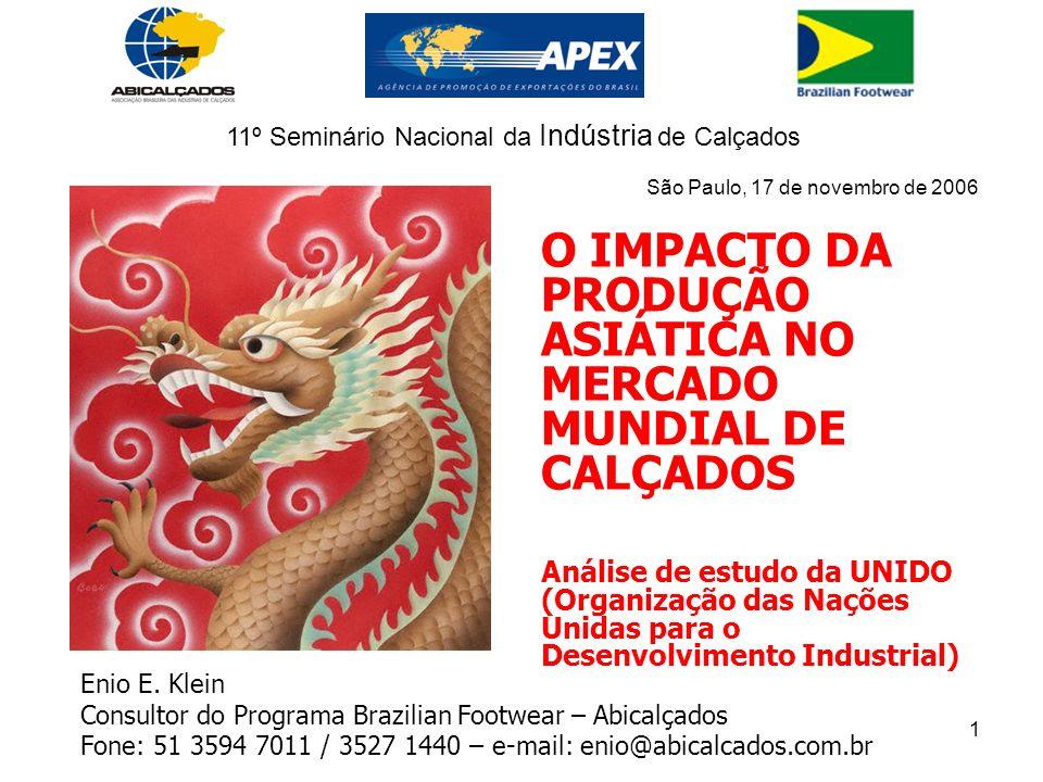 1 O IMPACTO DA PRODUÇÃO ASIÁTICA NO MERCADO MUNDIAL DE CALÇADOS Análise de estudo da UNIDO (Organização das Nações Unidas para o Desenvolvimento Industrial) Enio E.