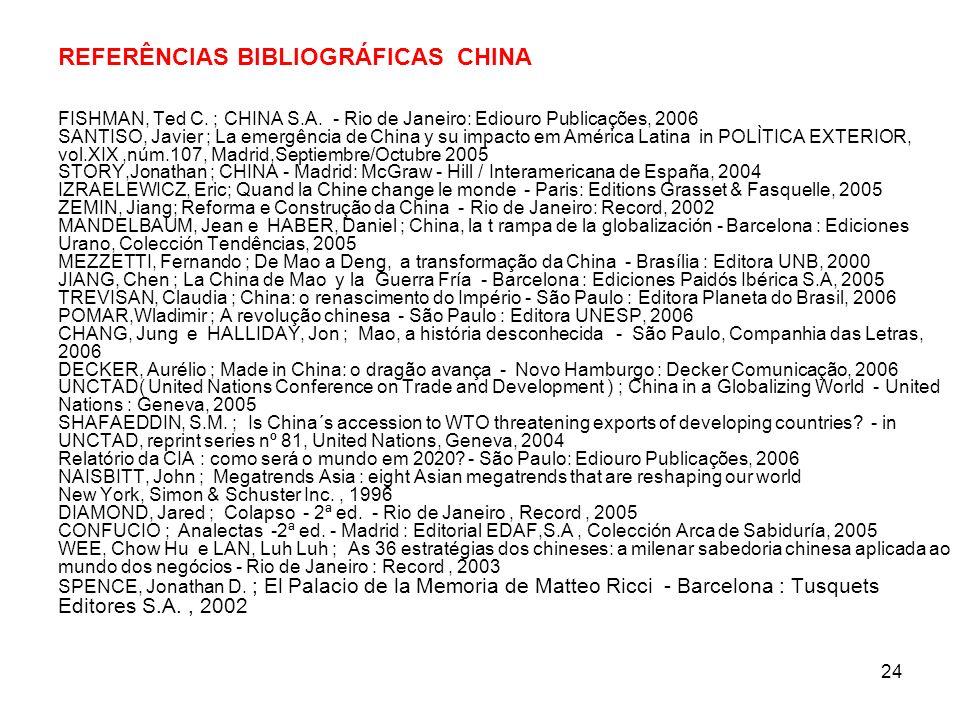 24 REFERÊNCIAS BIBLIOGRÁFICAS CHINA FISHMAN, Ted C.
