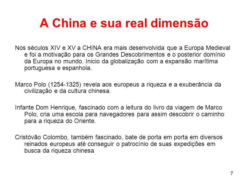 7 A China e sua real dimensão Nos séculos XIV e XV a CHINA era mais desenvolvida que a Europa Medieval e foi a motivação para os Grandes Descobrimentos e o posterior domínio da Europa no mundo.