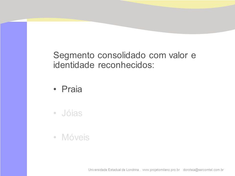 Universidade Estadual de Londrina. www.projetomilano.pro.br doroteia@sercomtel.com.br Segmento consolidado com valor e identidade reconhecidos: Praia