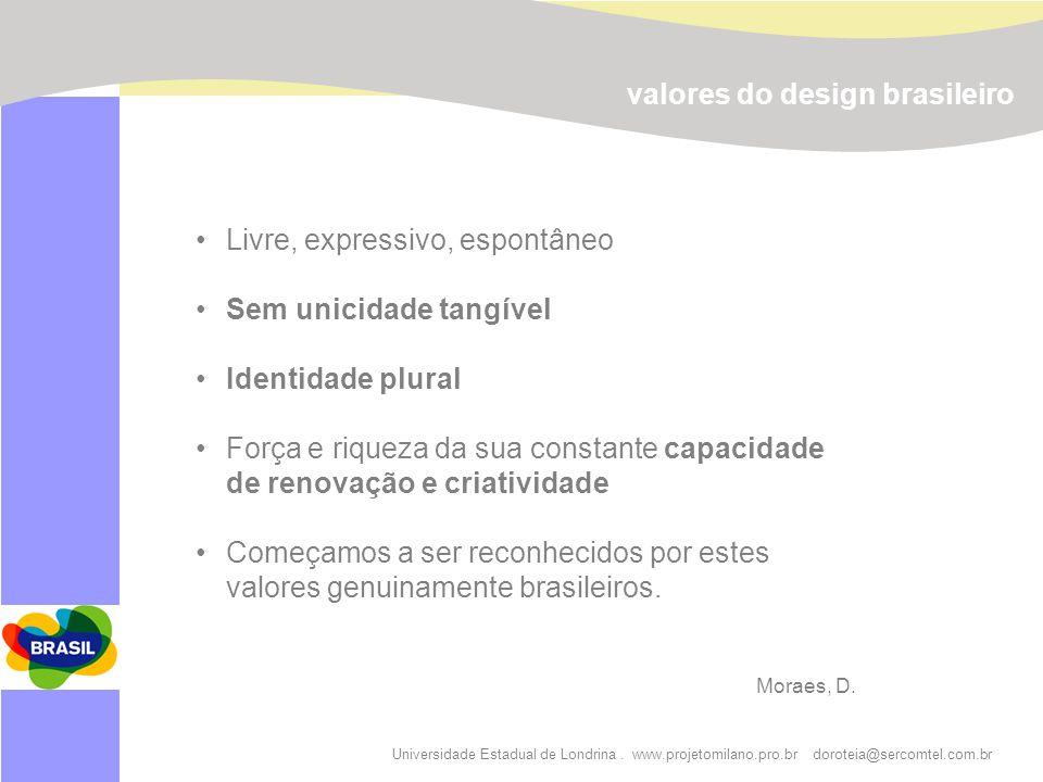 Universidade Estadual de Londrina. www.projetomilano.pro.br doroteia@sercomtel.com.br Livre, expressivo, espontâneo Sem unicidade tangível Identidade