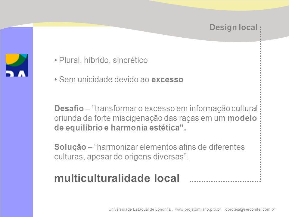 Universidade Estadual de Londrina. www.projetomilano.pro.br doroteia@sercomtel.com.br Plural, híbrido, sincrético Sem unicidade devido ao excesso Desa