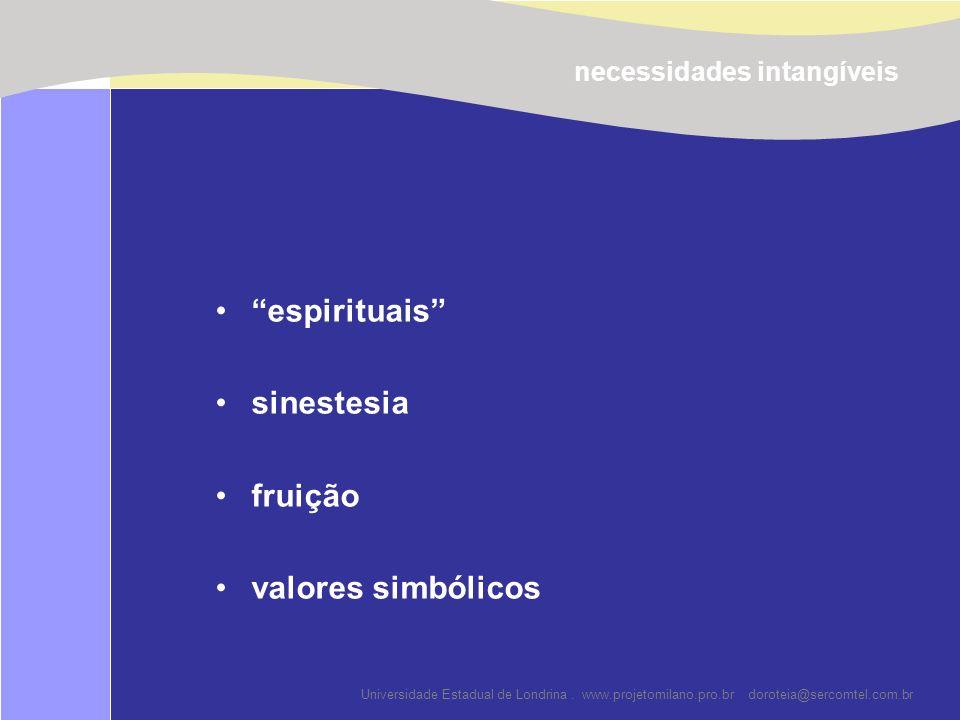 Universidade Estadual de Londrina. www.projetomilano.pro.br doroteia@sercomtel.com.br espirituais sinestesia fruição valores simbólicos necessidades i