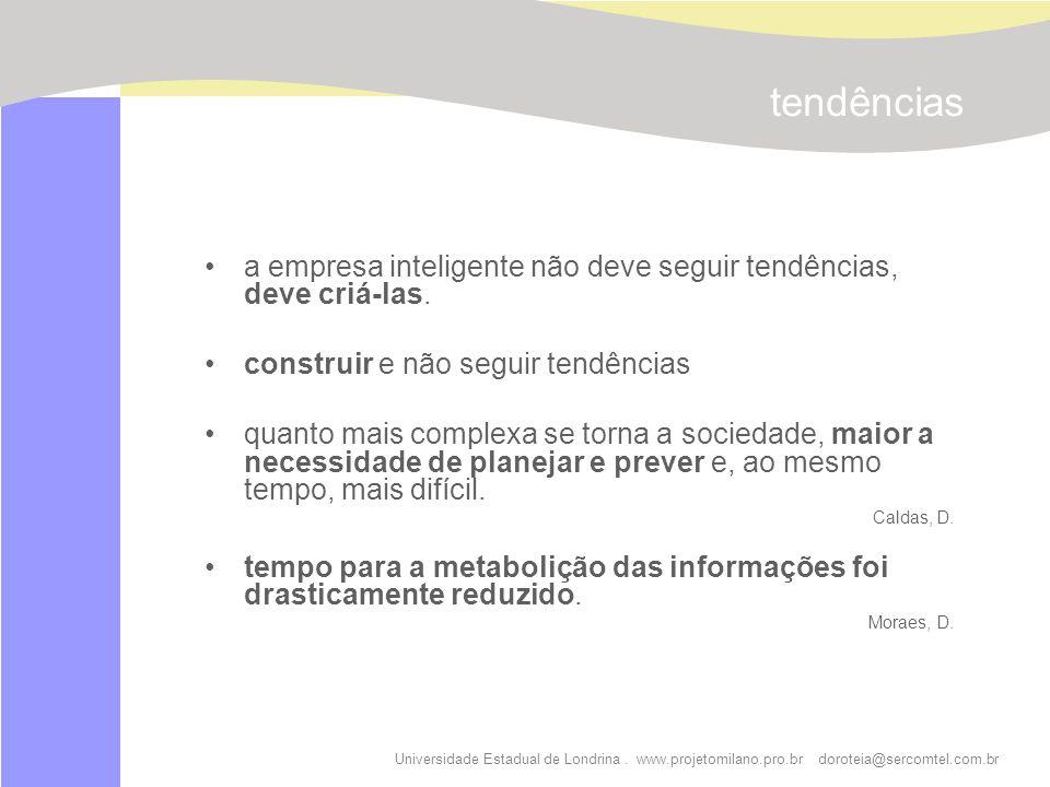 Universidade Estadual de Londrina. www.projetomilano.pro.br doroteia@sercomtel.com.br tendências a empresa inteligente não deve seguir tendências, dev