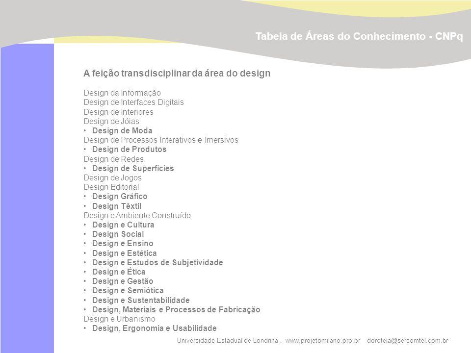 Universidade Estadual de Londrina. www.projetomilano.pro.br doroteia@sercomtel.com.br A feição transdisciplinar da área do design Design da Informação