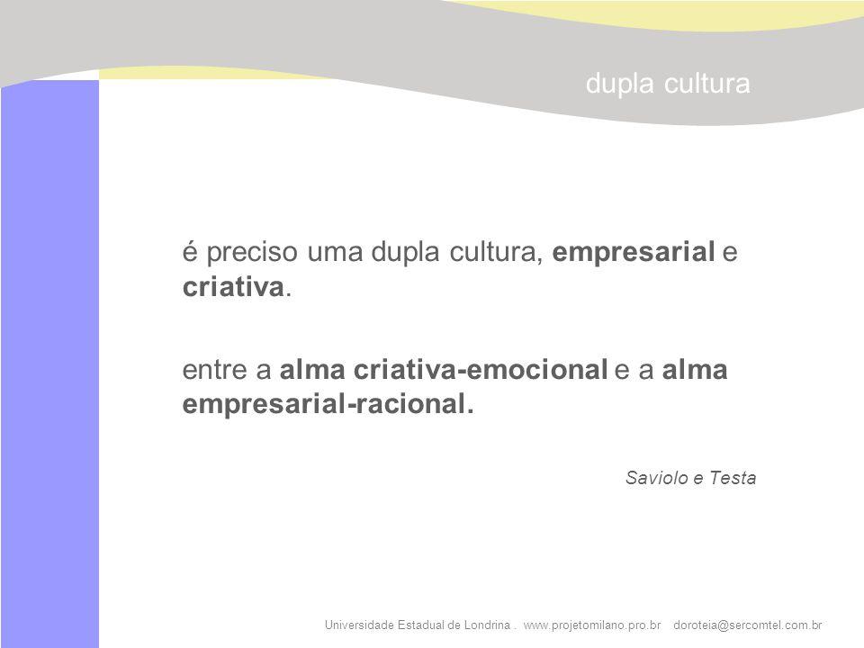 Universidade Estadual de Londrina. www.projetomilano.pro.br doroteia@sercomtel.com.br é preciso uma dupla cultura, empresarial e criativa. entre a alm
