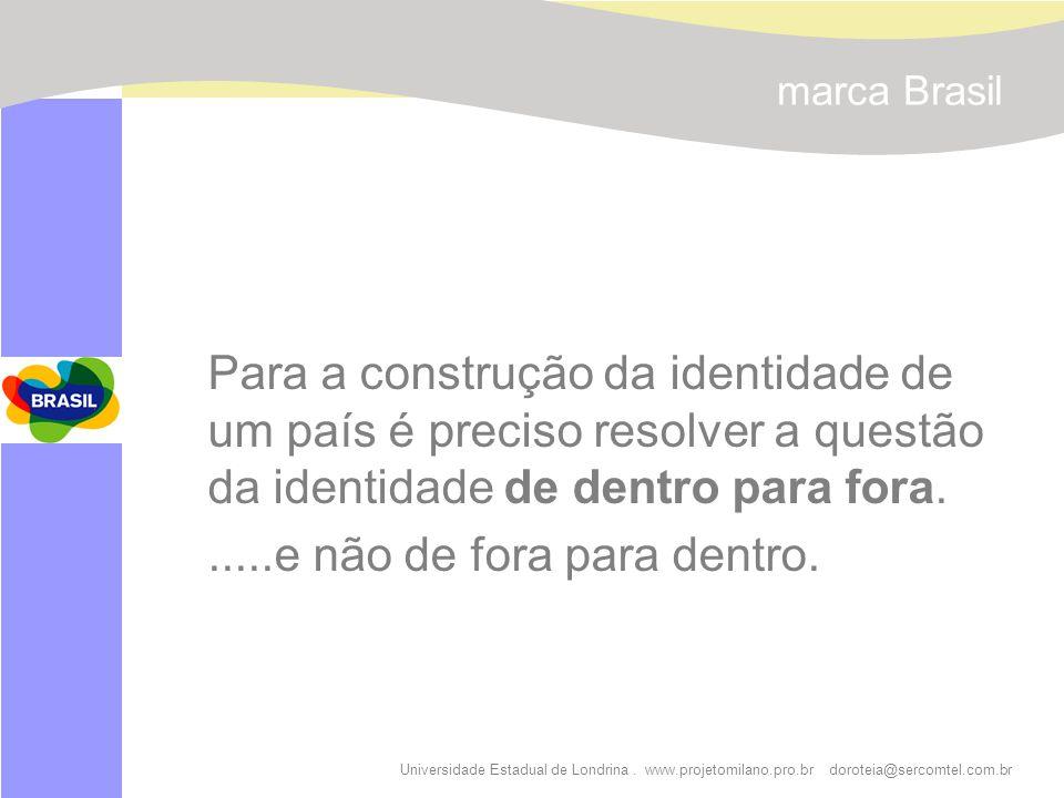 Universidade Estadual de Londrina. www.projetomilano.pro.br doroteia@sercomtel.com.br marca Brasil Para a construção da identidade de um país é precis
