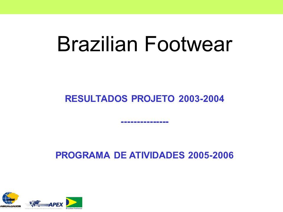 Brazilian Footwear RESULTADOS PROJETO 2003-2004 --------------- PROGRAMA DE ATIVIDADES 2005-2006