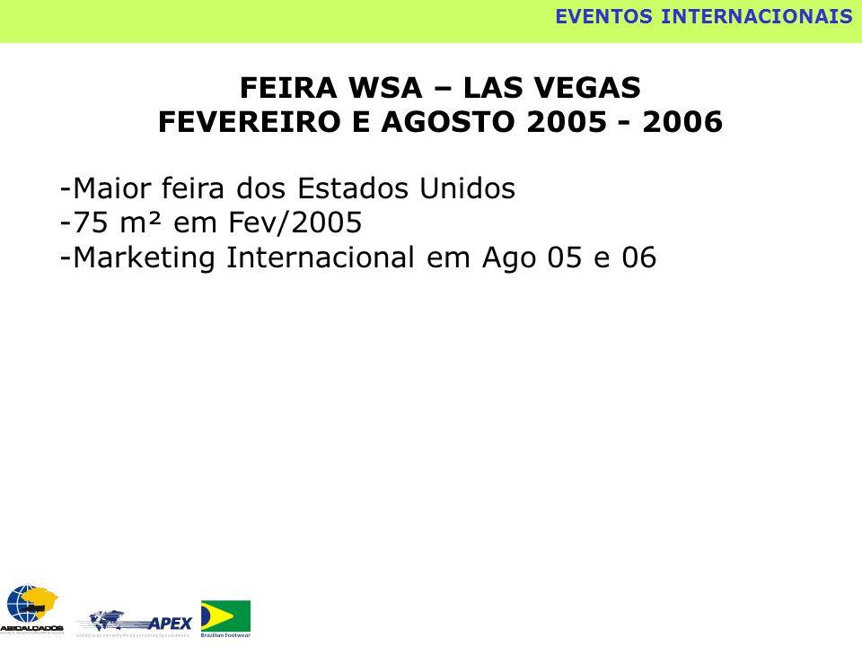 FEIRA WSA – LAS VEGAS FEVEREIRO E AGOSTO 2005 - 2006 -Maior feira dos Estados Unidos -75 m² em Fev/2005 -Marketing Internacional em Ago 05 e 06 EVENTO