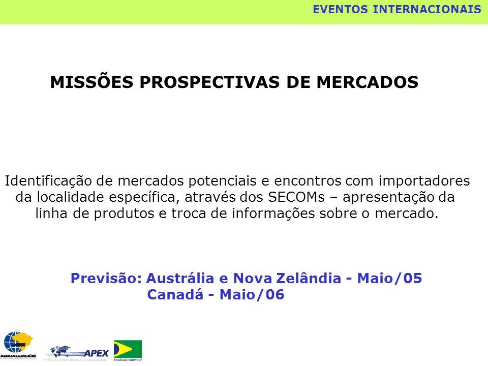 MISSÕES PROSPECTIVAS DE MERCADOS Identificação de mercados potenciais e encontros com importadores da localidade específica, através dos SECOMs – apre