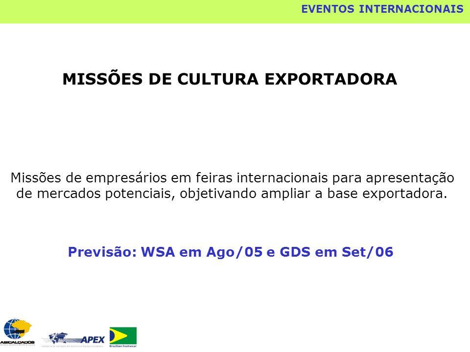 MISSÕES DE CULTURA EXPORTADORA Missões de empresários em feiras internacionais para apresentação de mercados potenciais, objetivando ampliar a base ex