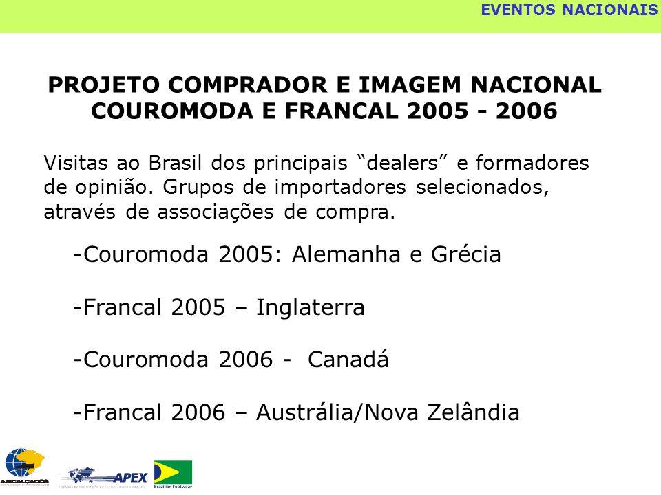 EVENTOS NACIONAIS PROJETO COMPRADOR E IMAGEM NACIONAL COUROMODA E FRANCAL 2005 - 2006 -Couromoda 2005: Alemanha e Grécia -Francal 2005 – Inglaterra -C