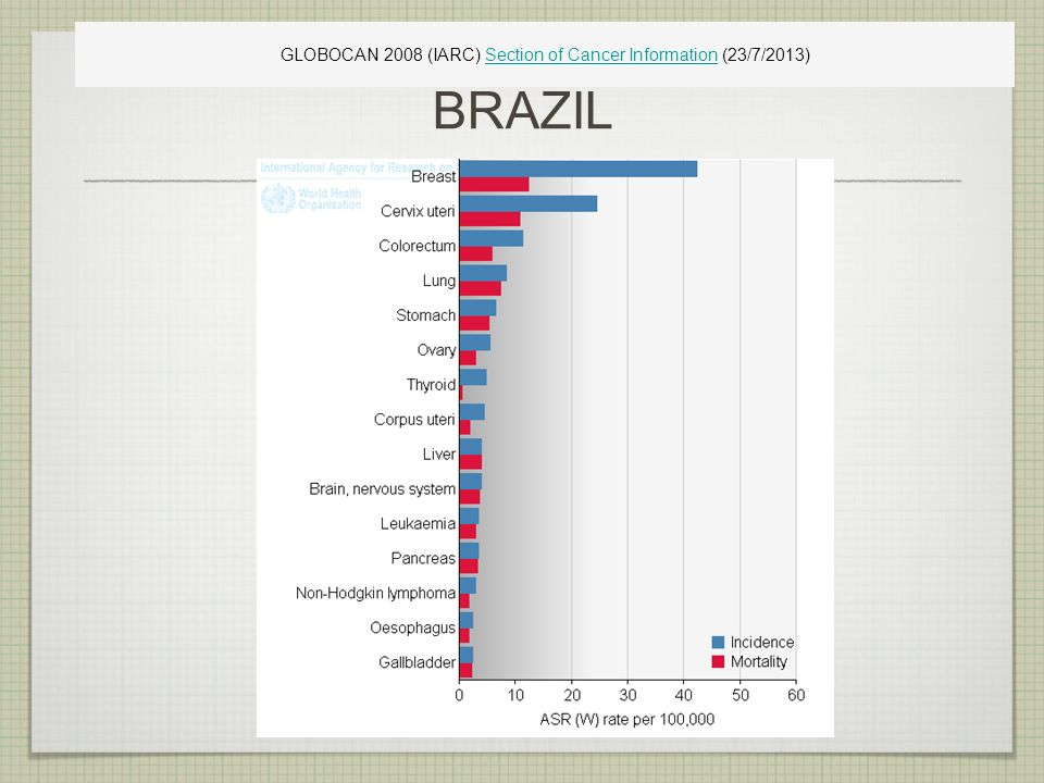 BRAZIL GLOBOCAN 2008 (IARC) Section of Cancer Information (23/7/2013)Section of Cancer Information