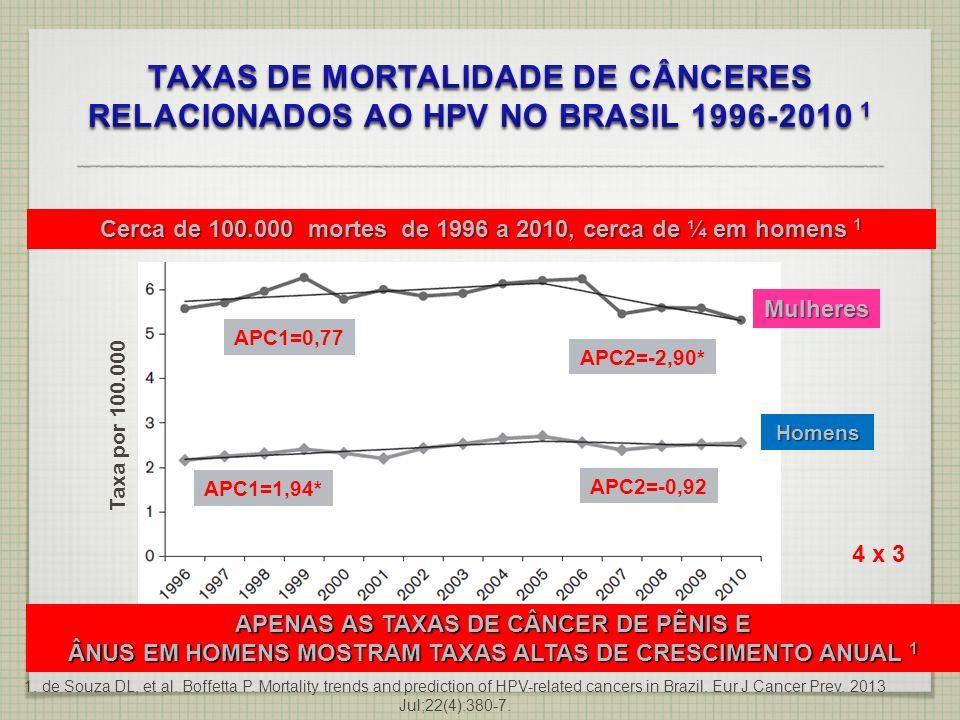 Mulheres Homens Cerca de 100.000 mortes de 1996 a 2010, cerca de ¼ em homens 1 Taxa por 100.000 1. de Souza DL, et al. Boffetta P. Mortality trends an