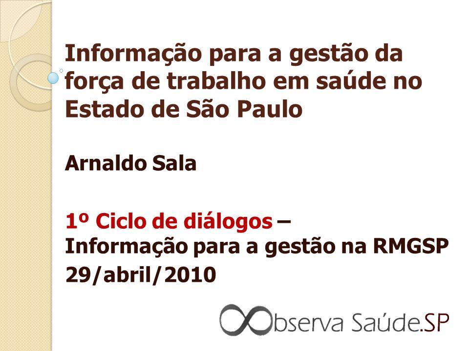 Informação para a gestão da força de trabalho em saúde no Estado de São Paulo Arnaldo Sala 1º Ciclo de diálogos – Informação para a gestão na RMGSP 29/abril/2010