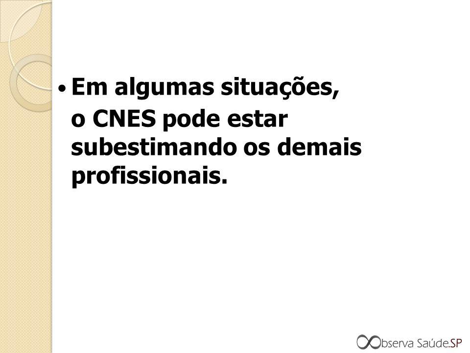 Em algumas situações, o CNES pode estar subestimando os demais profissionais.