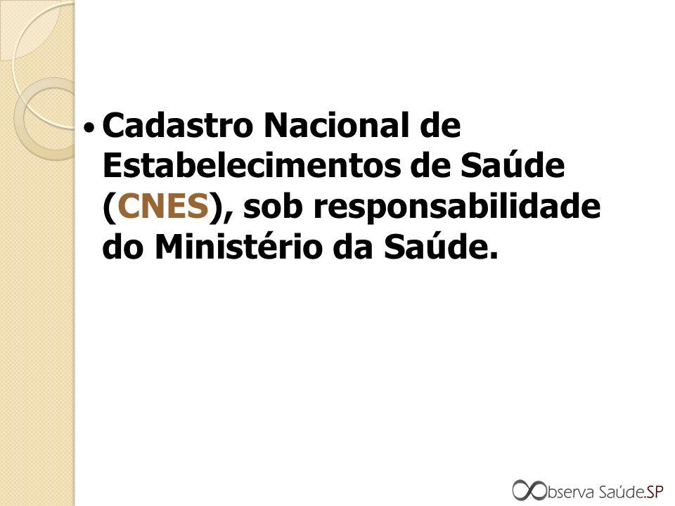 Cadastro Nacional de Estabelecimentos de Saúde (CNES), sob responsabilidade do Ministério da Saúde.