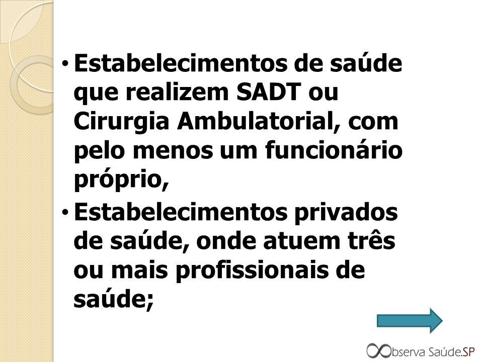 Estabelecimentos de saúde que realizem SADT ou Cirurgia Ambulatorial, com pelo menos um funcionário próprio, Estabelecimentos privados de saúde, onde atuem três ou mais profissionais de saúde;