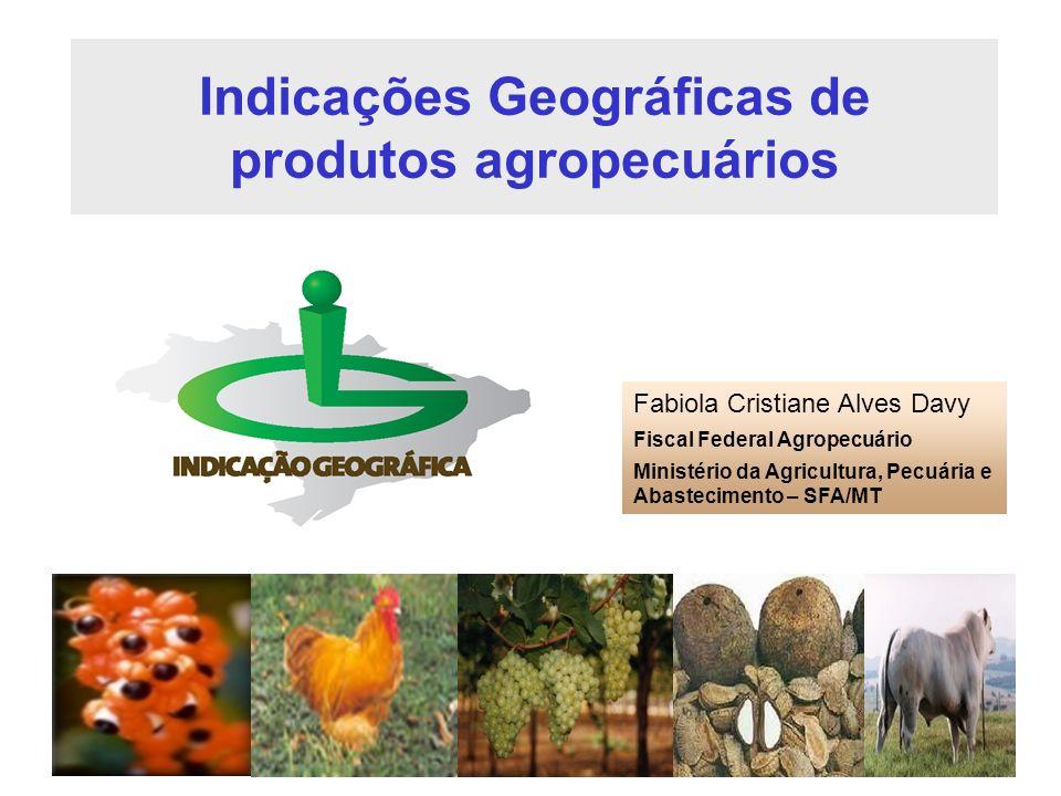 Indicações Geográficas de produtos agropecuários Fabiola Cristiane Alves Davy Fiscal Federal Agropecuário Ministério da Agricultura, Pecuária e Abaste