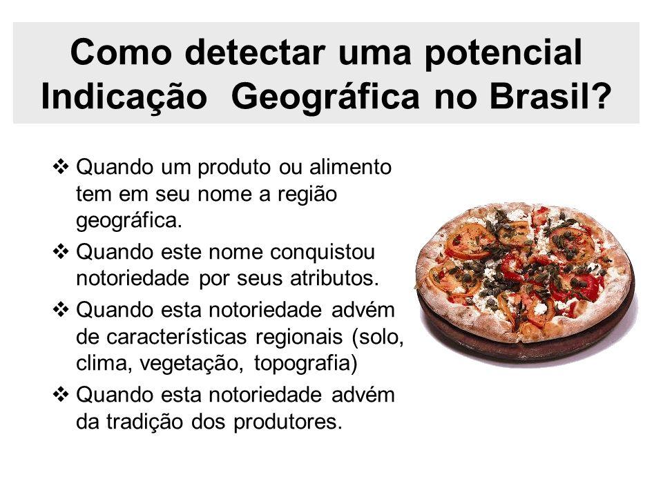 Como detectar uma potencial Indicação Geográfica no Brasil? Quando um produto ou alimento tem em seu nome a região geográfica. Quando este nome conqui