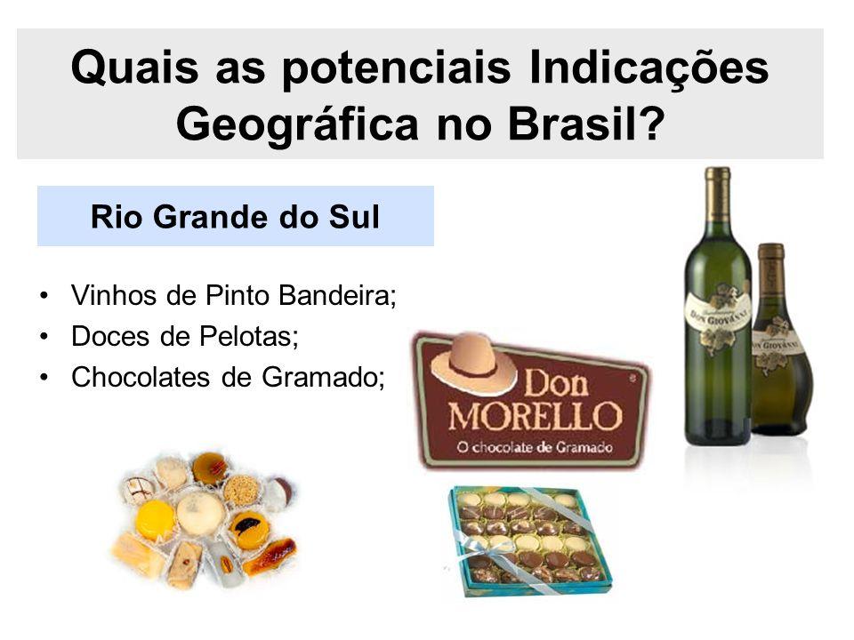 Rio Grande do Sul Quais as potenciais Indicações Geográfica no Brasil? Vinhos de Pinto Bandeira; Doces de Pelotas; Chocolates de Gramado;