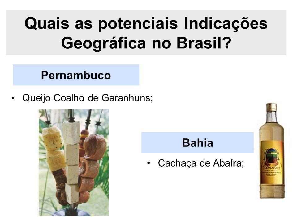 Pernambuco Quais as potenciais Indicações Geográfica no Brasil? Queijo Coalho de Garanhuns; Bahia Cachaça de Abaíra;
