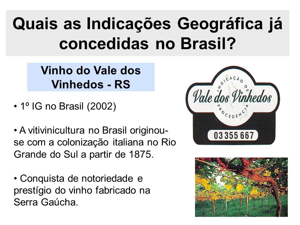 Quais as Indicações Geográfica já concedidas no Brasil? 1º IG no Brasil (2002) A vitivinicultura no Brasil originou- se com a colonização italiana no