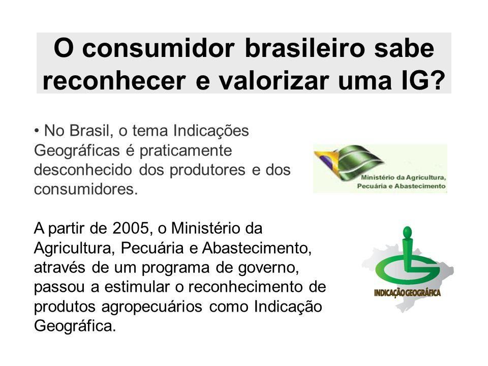 O consumidor brasileiro sabe reconhecer e valorizar uma IG? No Brasil, o tema Indicações Geográficas é praticamente desconhecido dos produtores e dos
