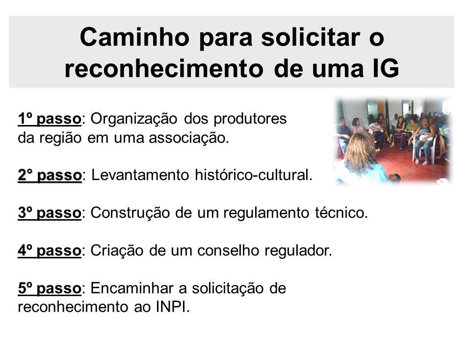 Caminho para solicitar o reconhecimento de uma IG 1º passo: Organização dos produtores da região em uma associação. 2° passo 2° passo: Levantamento hi