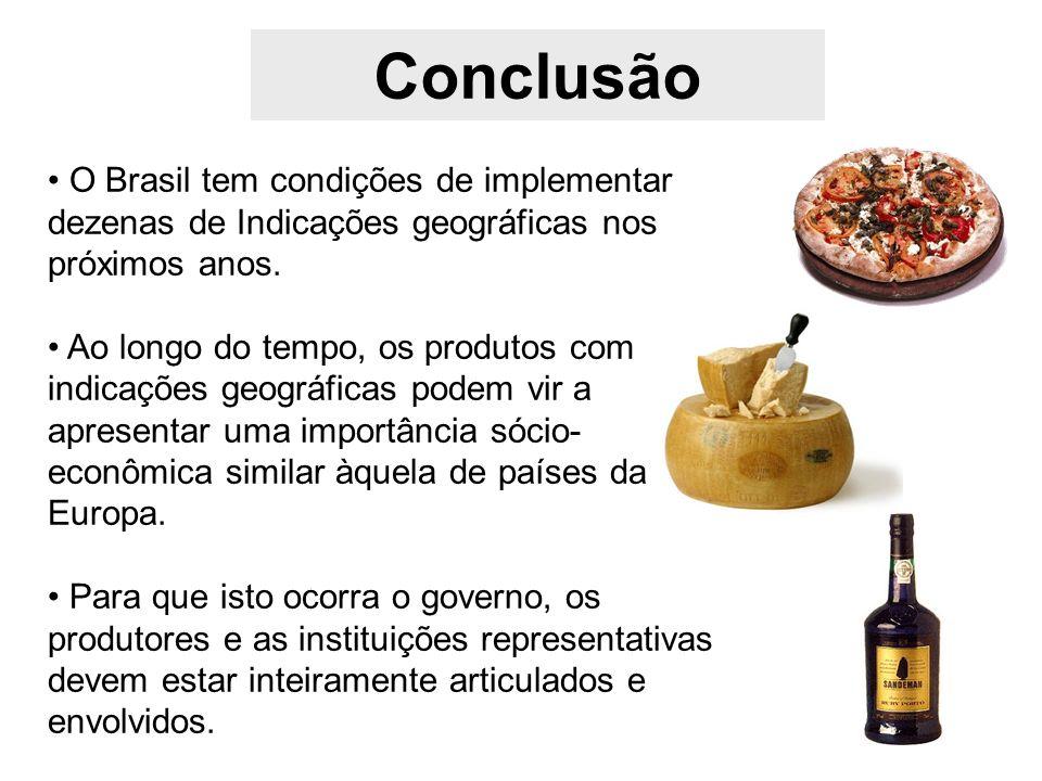Conclusão O Brasil tem condições de implementar dezenas de Indicações geográficas nos próximos anos. Ao longo do tempo, os produtos com indicações geo