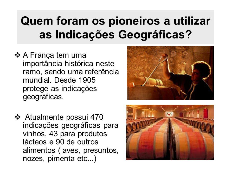 Quem foram os pioneiros a utilizar as Indicações Geográficas? A França tem uma importância histórica neste ramo, sendo uma referência mundial. Desde 1