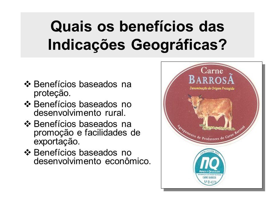 Quais os benefícios das Indicações Geográficas? Benefícios baseados na proteção. Benefícios baseados no desenvolvimento rural. Benefícios baseados na
