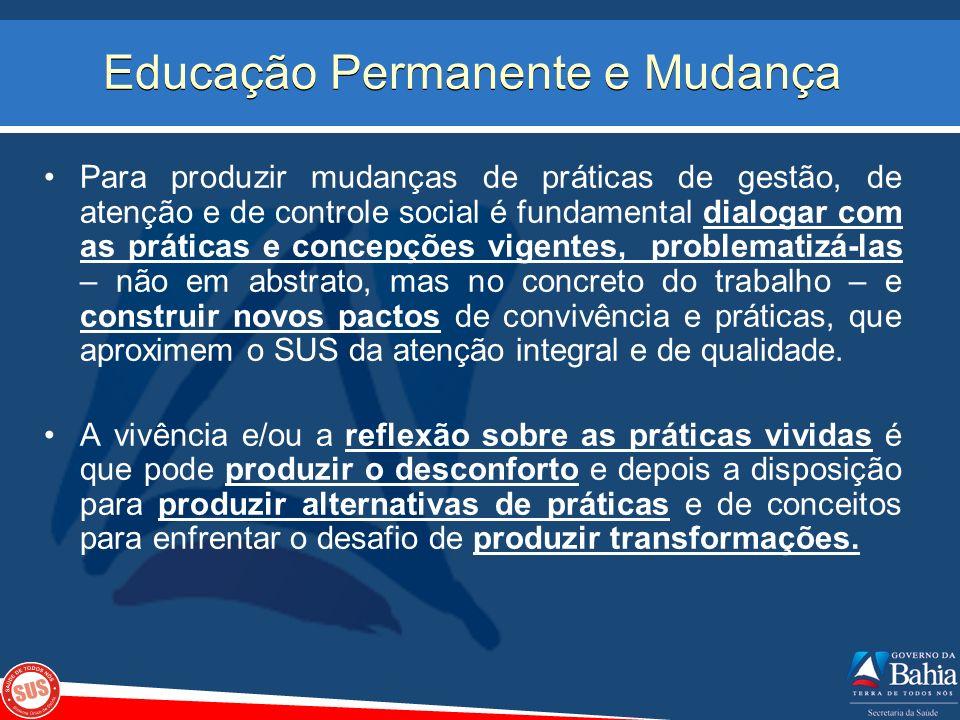 Educação Permanente e Mudança Para produzir mudanças de práticas de gestão, de atenção e de controle social é fundamental dialogar com as práticas e c