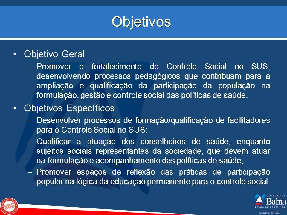 Objetivos Objetivo Geral –Promover o fortalecimento do Controle Social no SUS, desenvolvendo processos pedagógicos que contribuam para a ampliação e q