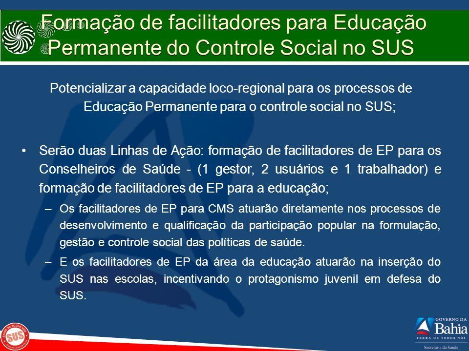 Formação de facilitadores para Educação Permanente do Controle Social no SUS Potencializar a capacidade loco-regional para os processos de Educação Pe