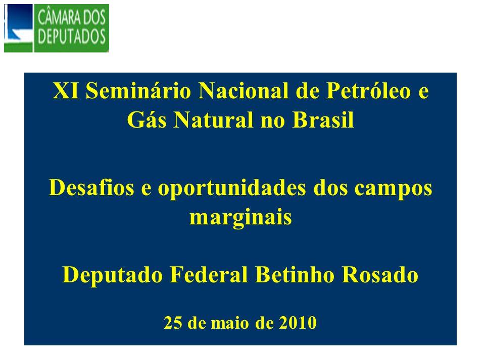 XI Seminário Nacional de Petróleo e Gás Natural no Brasil Desafios e oportunidades dos campos marginais Deputado Federal Betinho Rosado 25 de maio de