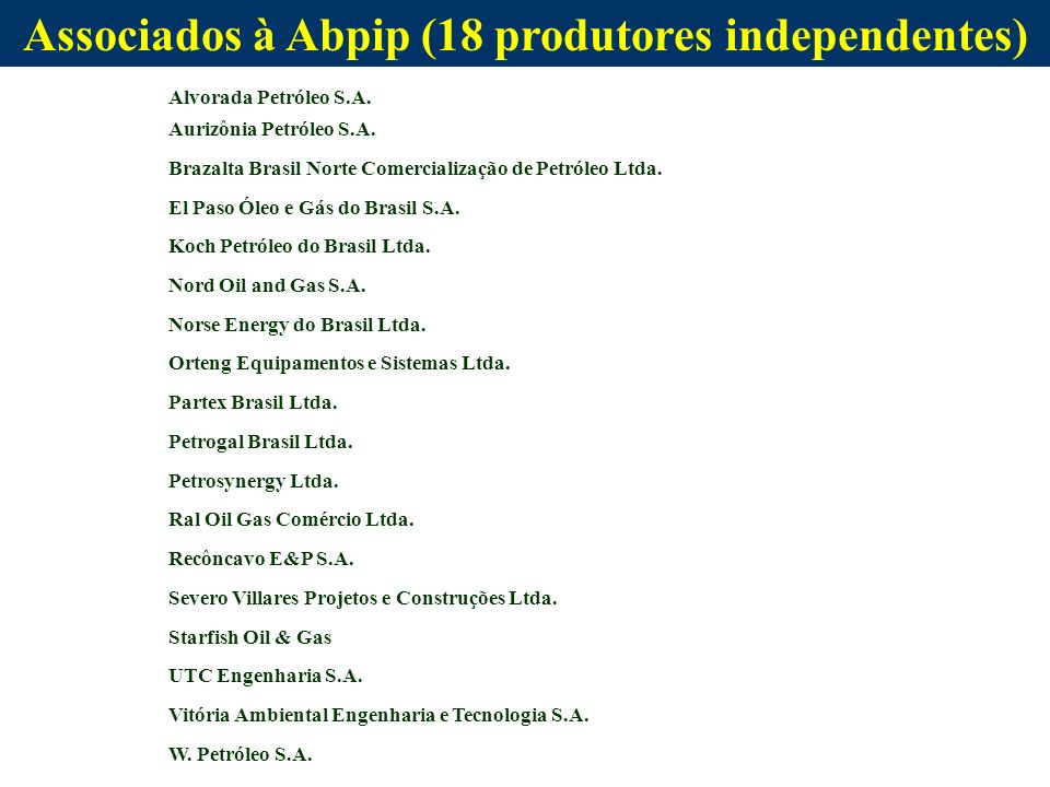Associados à Abpip (18 produtores independentes) Alvorada Petróleo S.A. Aurizônia Petróleo S.A. Brazalta Brasil Norte Comercialização de Petróleo Ltda