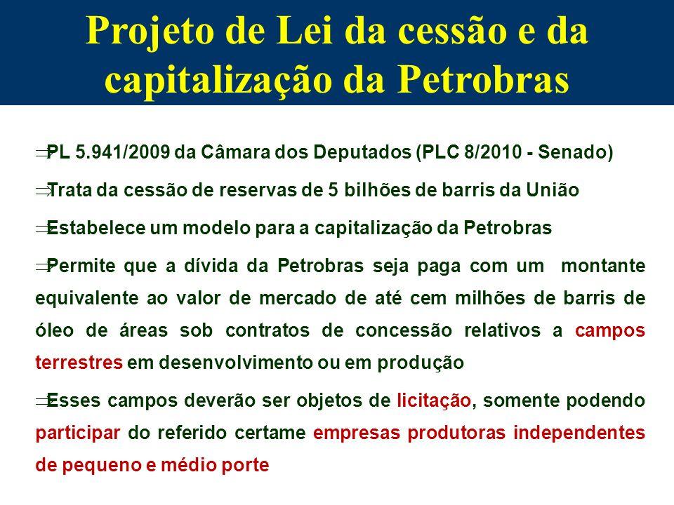 PL 5.941/2009 da Câmara dos Deputados (PLC 8/2010 - Senado) Trata da cessão de reservas de 5 bilhões de barris da União Estabelece um modelo para a ca