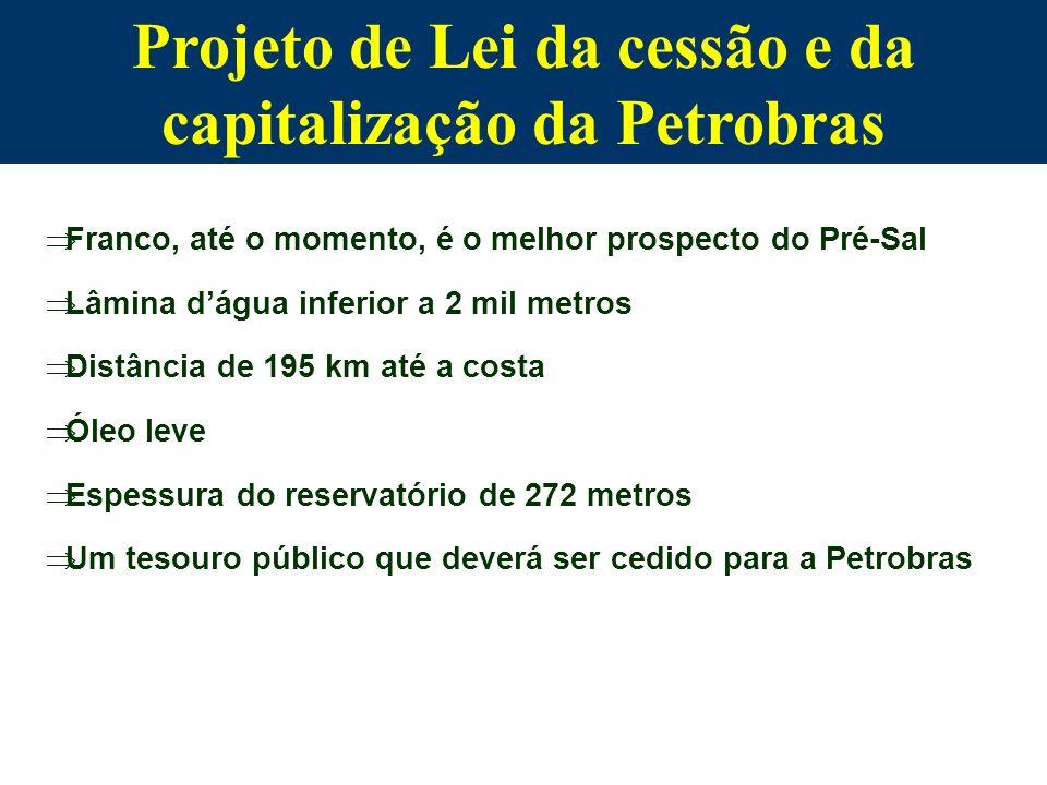 Projeto de Lei da cessão e da capitalização da Petrobras Franco, até o momento, é o melhor prospecto do Pré-Sal Lâmina dágua inferior a 2 mil metros D
